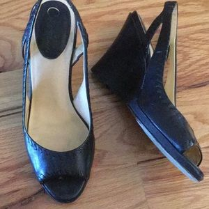 Cole Haan Shoes - Cole Haan black leather peep toe wedges